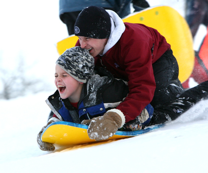 Sledding on Sibley Hill